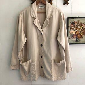 Vtg Oversized Neutral Cotton Blazer